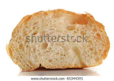 Close-up image of bread studio isolated on white background