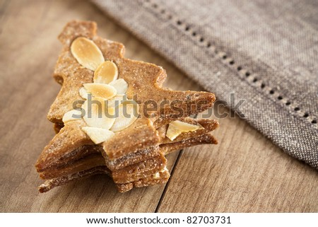 Close-up image of Christmas Biscuits which has the shape of a Christmas tree.