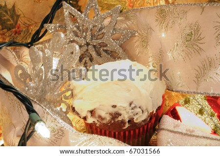 Close up image of Christmas Decorations with ligjts and dessert