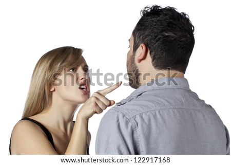 Close up image of couple having a quarrel against white background
