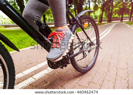 close up image of cyclist woman ...