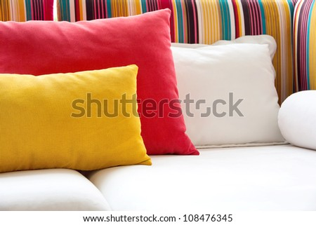close up image of decorative colorful pillow