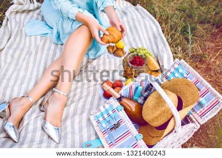 Close up image of elegant woman enjoy her meal with vintage retro picnic basket