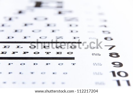 close up image of eye chart