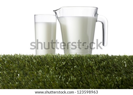 Close-up image of fresh milk on the green grass isolated on a white background