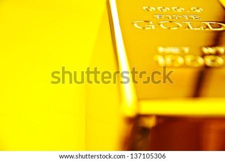 close up image of gold bar - stock photo