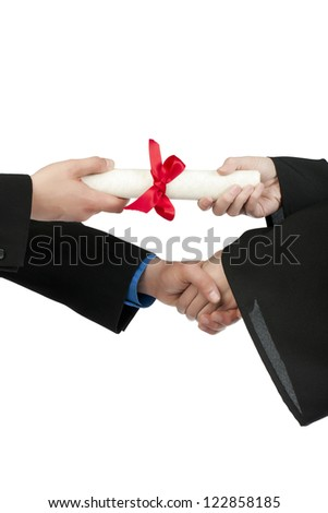 Close up image of graduating student hand receiving diploma against white background