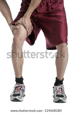 Close up image of guy suffering leg pain against white background