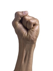 Close up image of human fist against white background