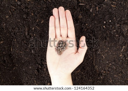 Close up image of human hand with seeds