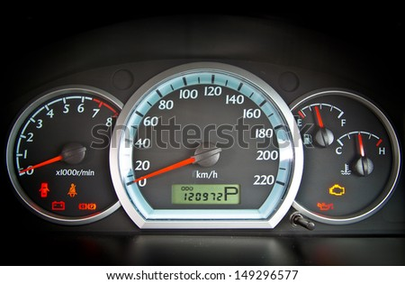 close up image of illuminated car dashboard
