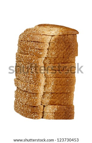 Close up image of loaf of bread on white against white background