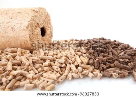 close up image of natural wood pellet background - stock photo