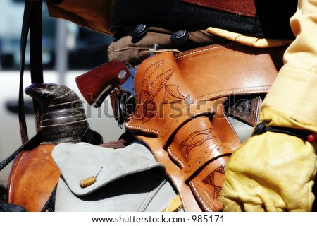 revolvers of old west. Close-up image of Old West