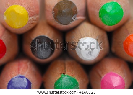 Close-up image of pencil crayons isolated