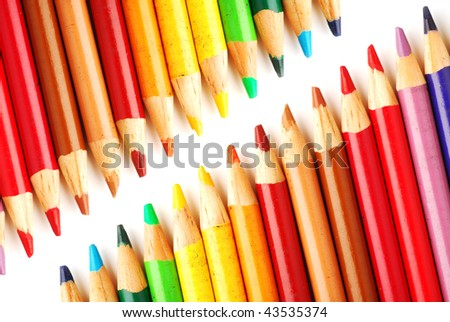 Close-up image of pencil crayons studio isolated on white background