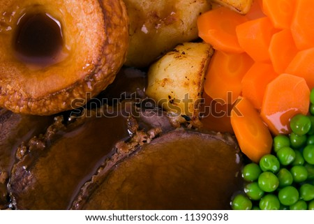 Close up image of Roast Beef meal and trimmings