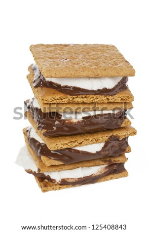 Close up image of smore against white background - stock photo