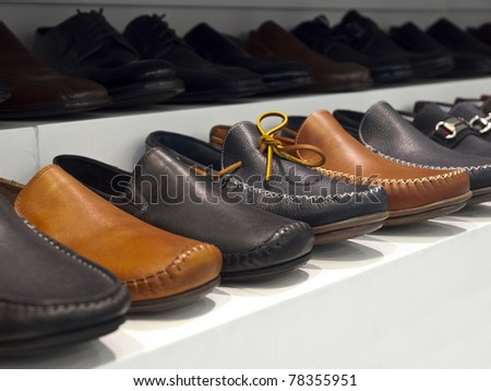 Close-up image of some leather shoes in a shop