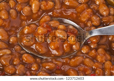 Close up image of spoon of chili