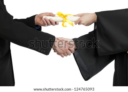 Close up image of student accepting a diploma against white background