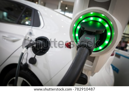 Close up image of the power socket of an electric car, charging. #782910487