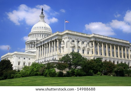 Close up image of the US Capitol. Versatile image that could be used to represent politics, power, government, traveling, policy debates, elections.