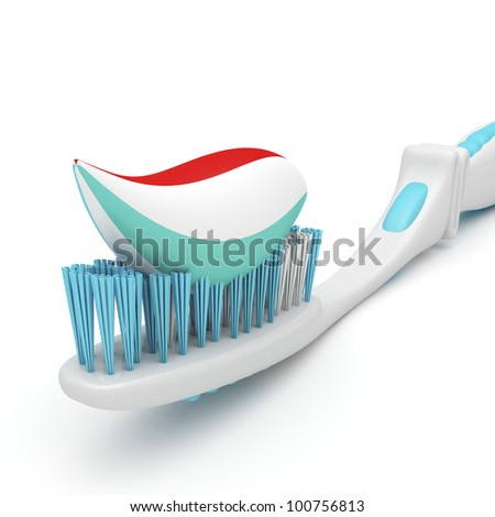 Close-up image of toothbrush with toothpaste