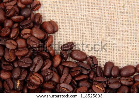 Close up image of top view of coffee beans frame background