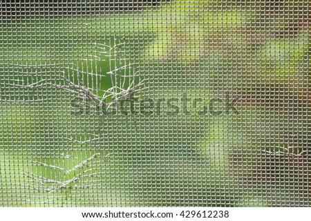 CLOSE UP IMAGE OF TORN WINDOW SCREEN  #429612238