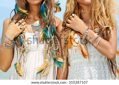 close up image of two hippie girls. boho style #310287107