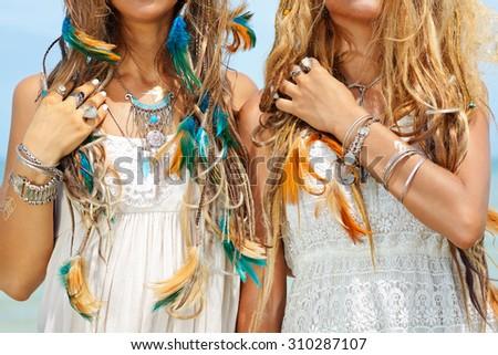 close up image of two hippie girls. boho style #310287107