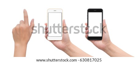 Close-up image of two human hand holding black and white blank screen smartphone with hand in touching gesture isolate on white background with clipping path #630817025