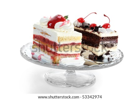 Close-up image of two slices of cake on white background