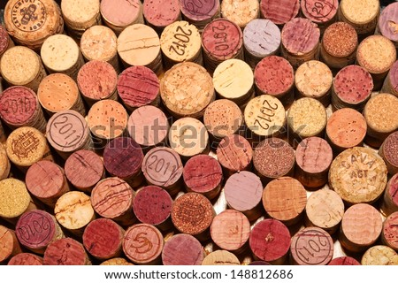 Close-up image of wine bottle old corks