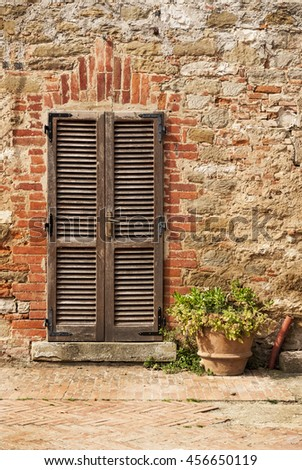 Close Up Image Of Wooden Ancient Italian Door #456650119