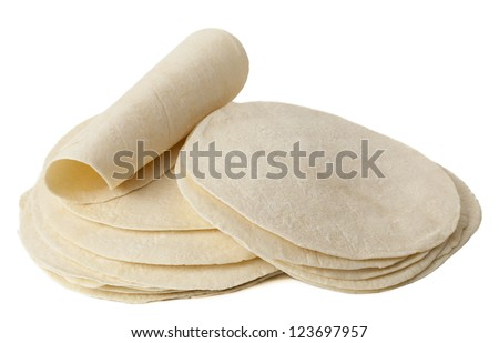 Close up image wheat tortillas against white background