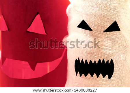 close-up Images of a ghost on a light background. Couple of white sheet ghost. Concept our fears and nightmares. #1430088227