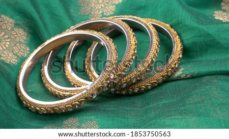 Close up indian bangles.Indian traditional jewellery.