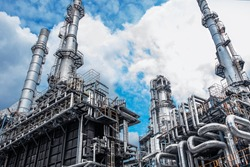 Close up Industrial view at oil refinery plant form industry zone with cloudy sky