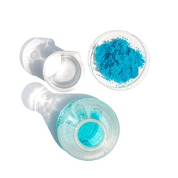 Close up inorganic chemical on white laboratory table. Copper(II) sulfate,  alcohol. Chemical ingredient for Cosmetics & Toiletries product. Top View.