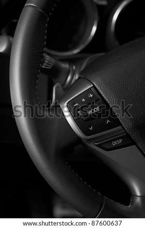 Close up interior modern car - stock photo
