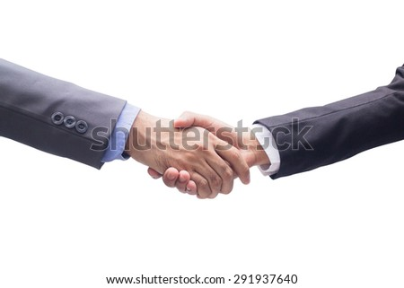 close up investor businessman handshake with partner after complete goal or congratulations with successful job  isolated on white background, ceo leader hand shake for agreement or deal concept