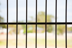 Close up iron bars or metal grating on window or prison cell, bright blurred outdoor background, copy space.