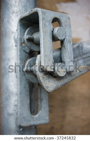 close-up joint scaffolding construction site
