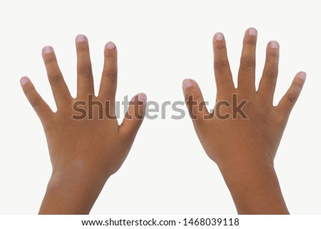 Close up Kid's hand with long nails isolated on white background. Unclean nails. Heathy concept.