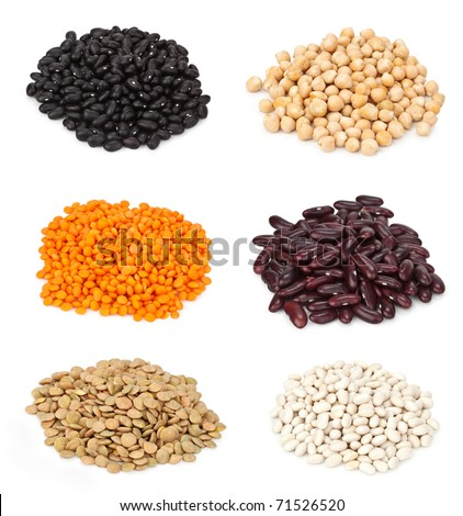 Close up kinds of beans (small lentils, chickpeas, white, black and red beans, soy beans, lentils)