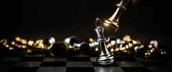 Close up king chess to challenge battle fighting on chess board concepts of leadership and business strategy and human personal organization risk management.