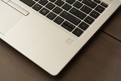 Close up laptop on wooden table