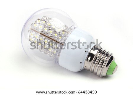 Close up LED Bulb isolated on white background